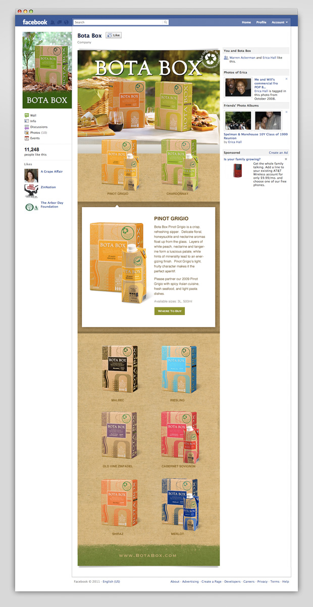 Bota Box Facebook our wines app
