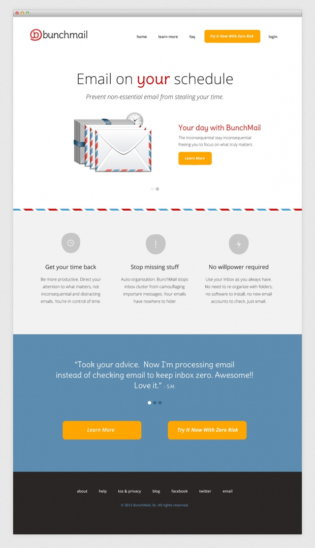 BunchMail website home