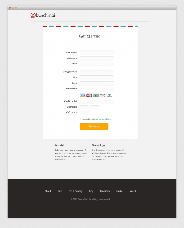 BunchMail website form